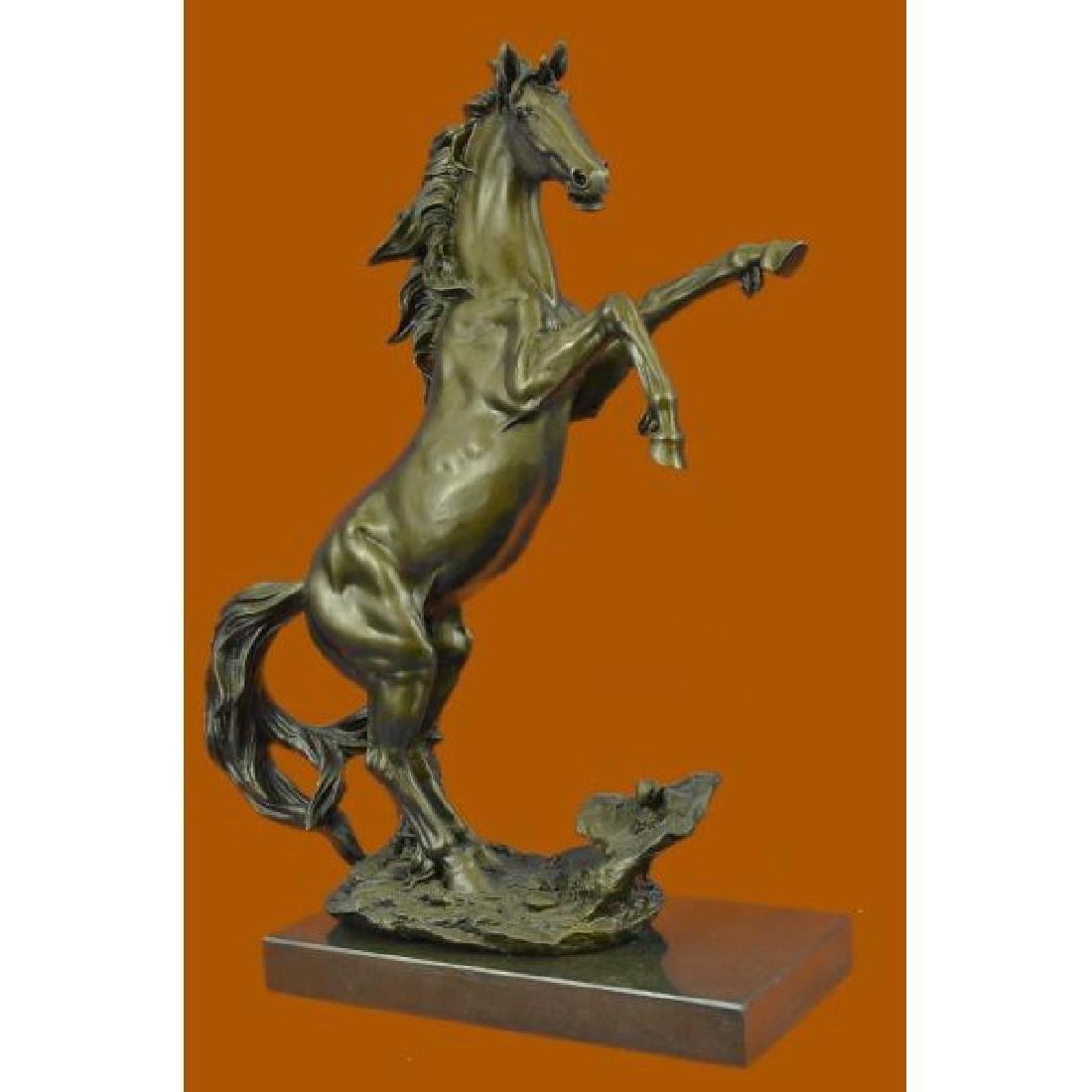 Rearing Wild Stallion Horse Bronze Statue - 2