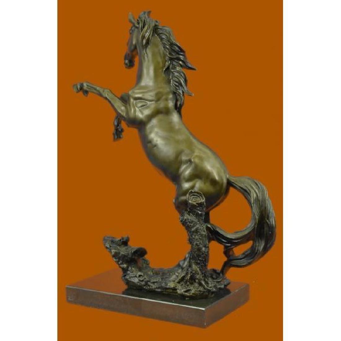 Rearing Wild Stallion Horse Bronze Statue - 3