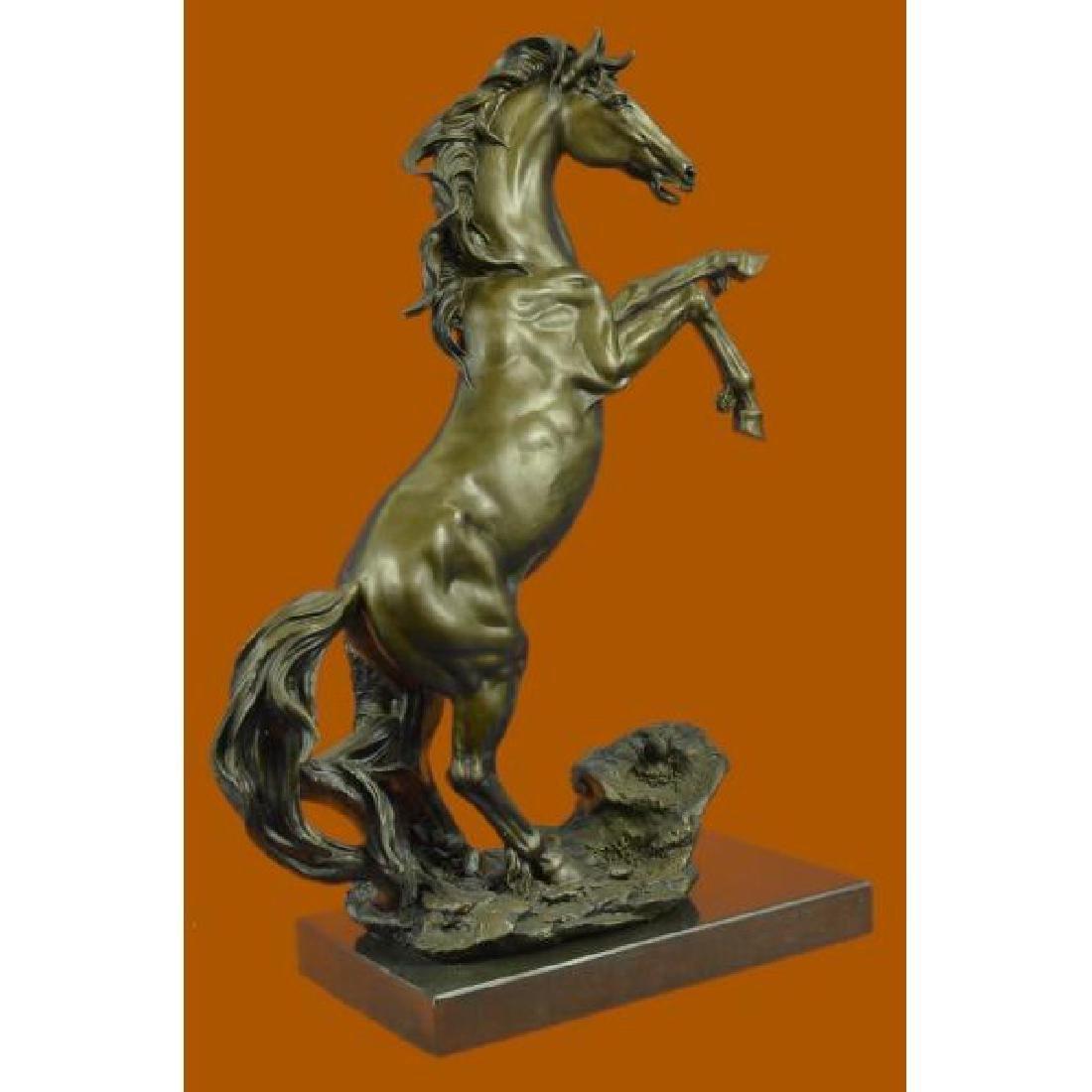 Rearing Wild Stallion Horse Bronze Statue - 4