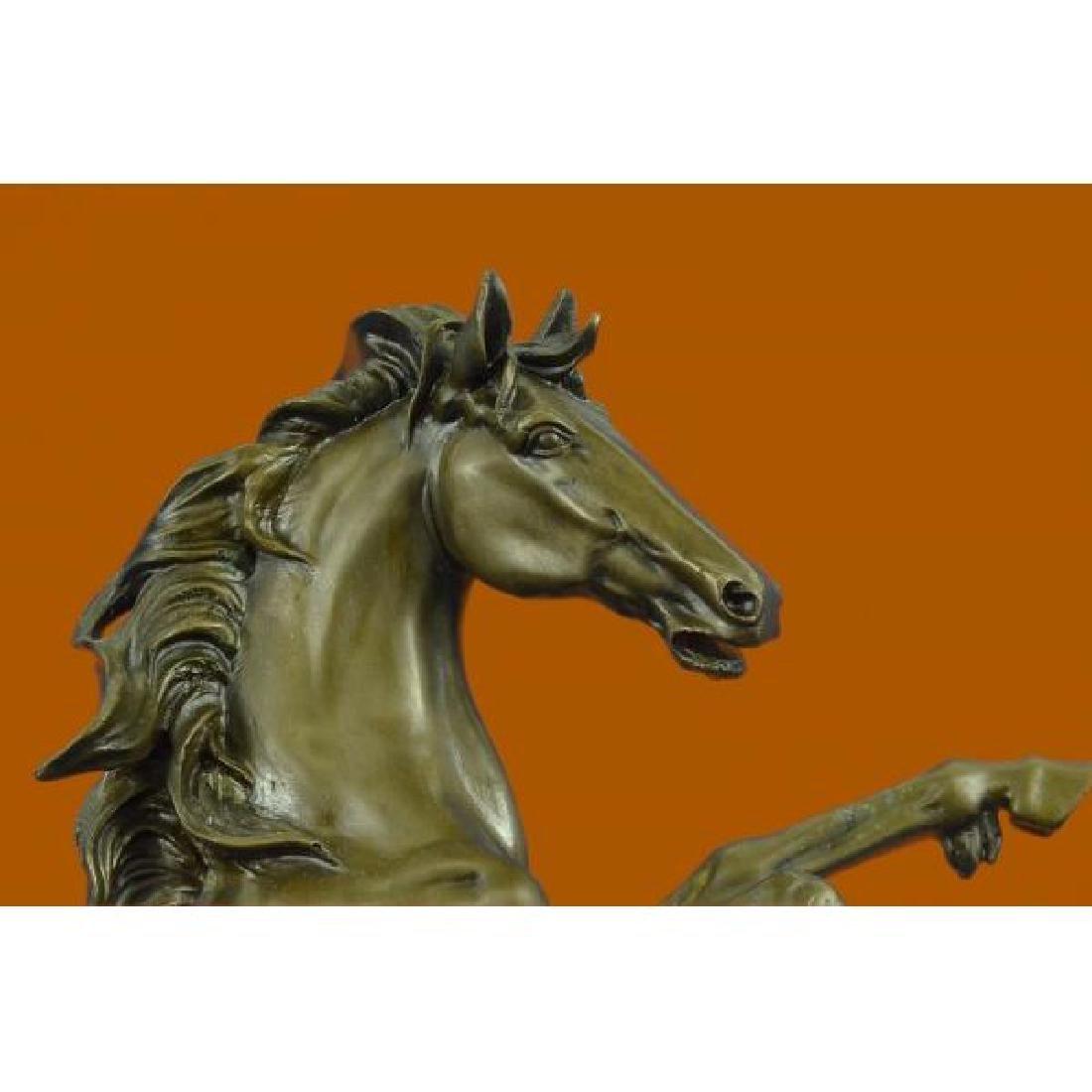 Rearing Wild Stallion Horse Bronze Statue - 5