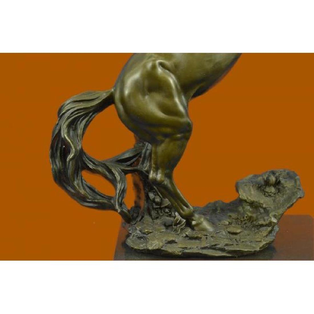 Rearing Wild Stallion Horse Bronze Statue - 6