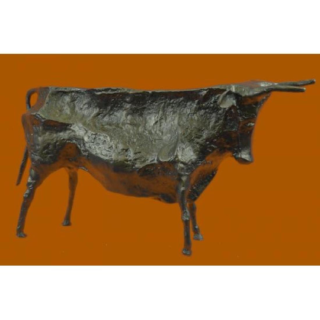Modern Bull Bronze Sculpture Hot Cast Figurine - 3