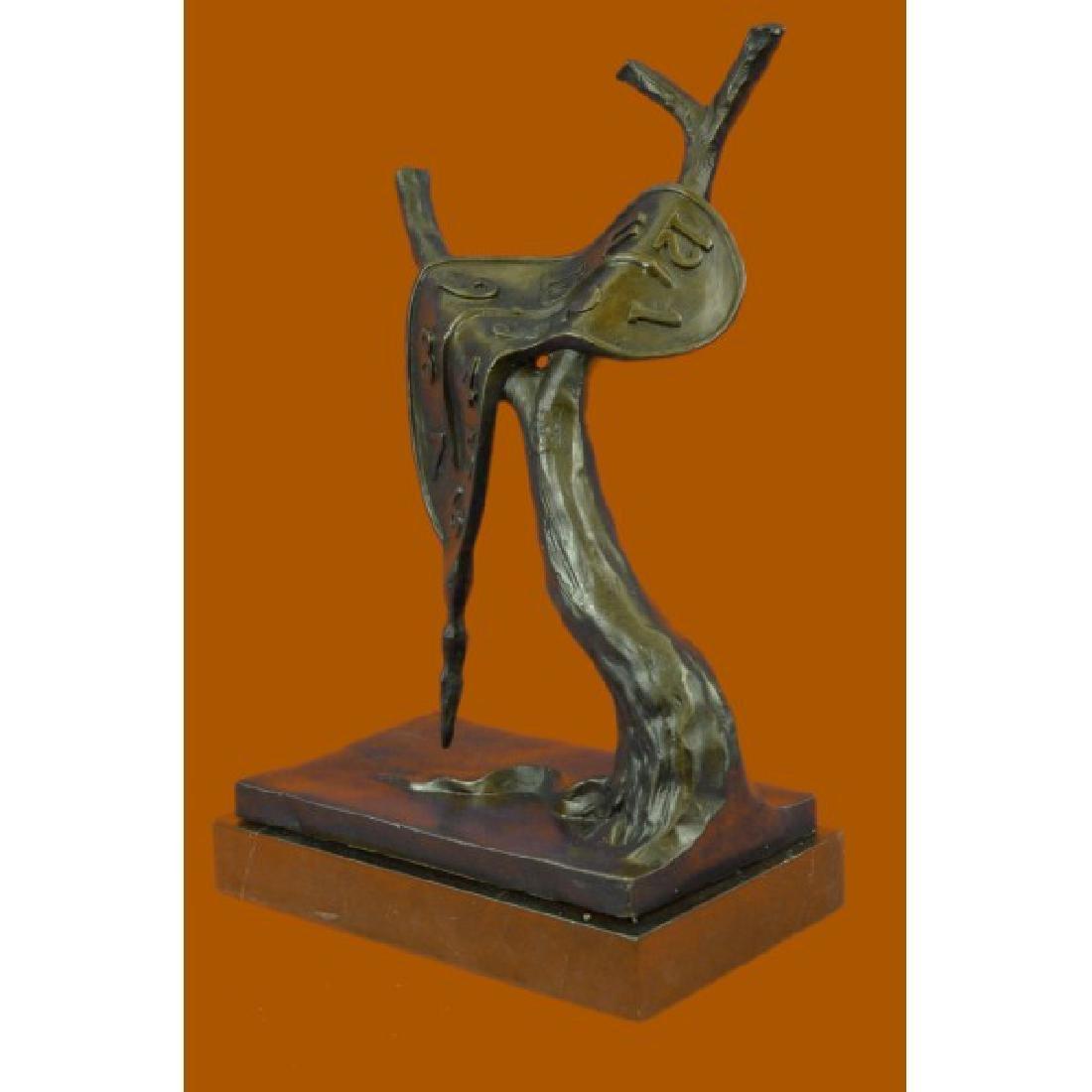 Modern Melting Clock Bronze Sculpture - 2