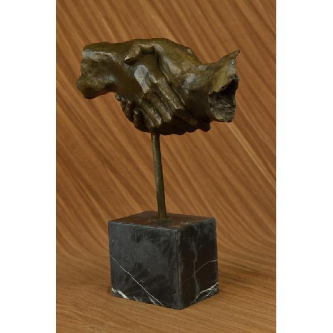 Modern Bronze Sculpture on Marble Base Figure - 2