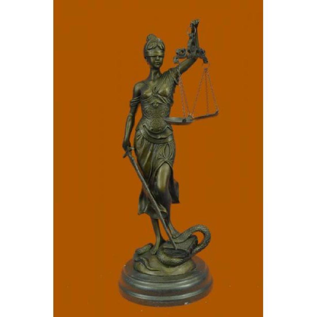 Lady Blind Justice Bronze Statue