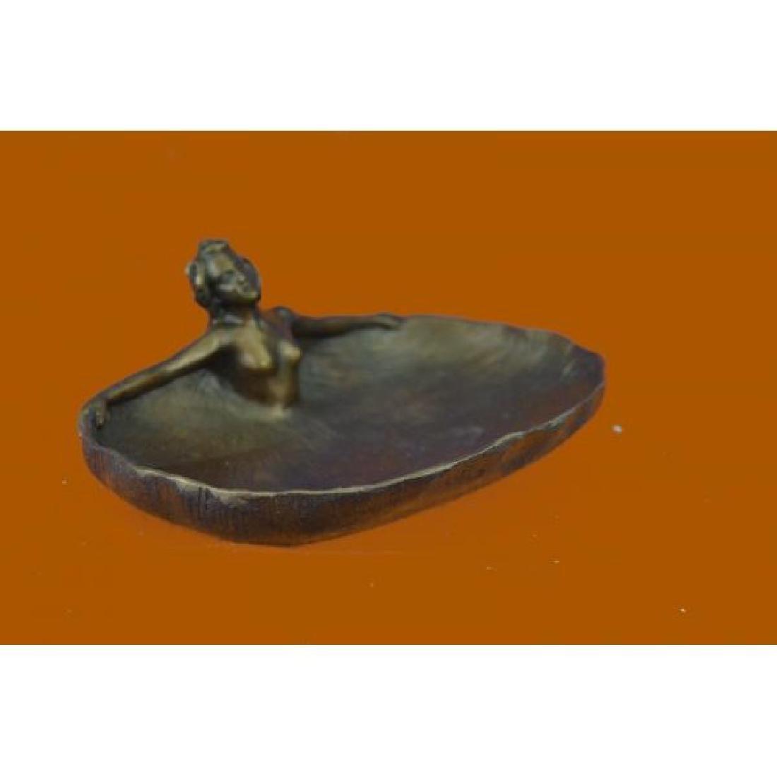 Soaking Dish Tray Nude Female Bronze Statue - 4