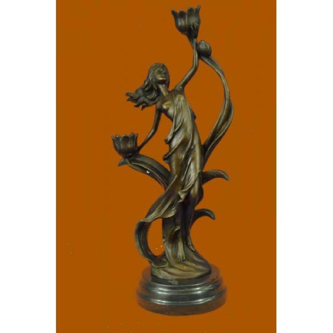 Sexy Nymph with Tulip Candle Holder Bronze Sculpture