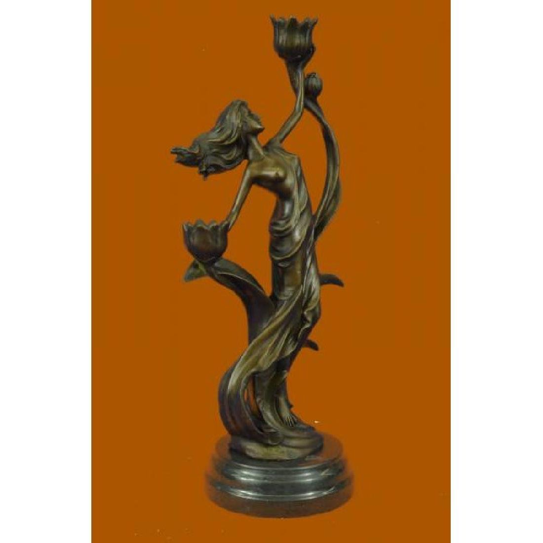 Sexy Nymph with Tulip Candle Holder Bronze Sculpture - 4