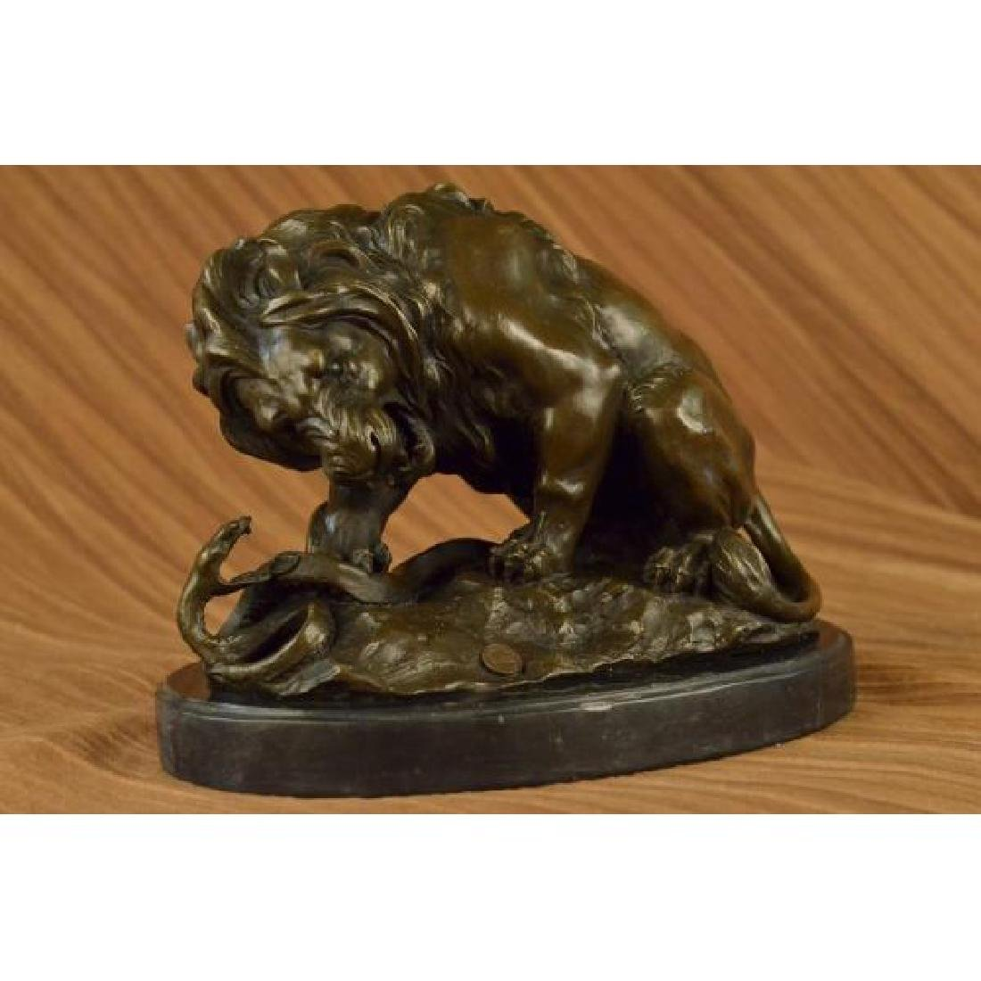 Lion and Snake Bronze Sculpture on Marble Base Statue