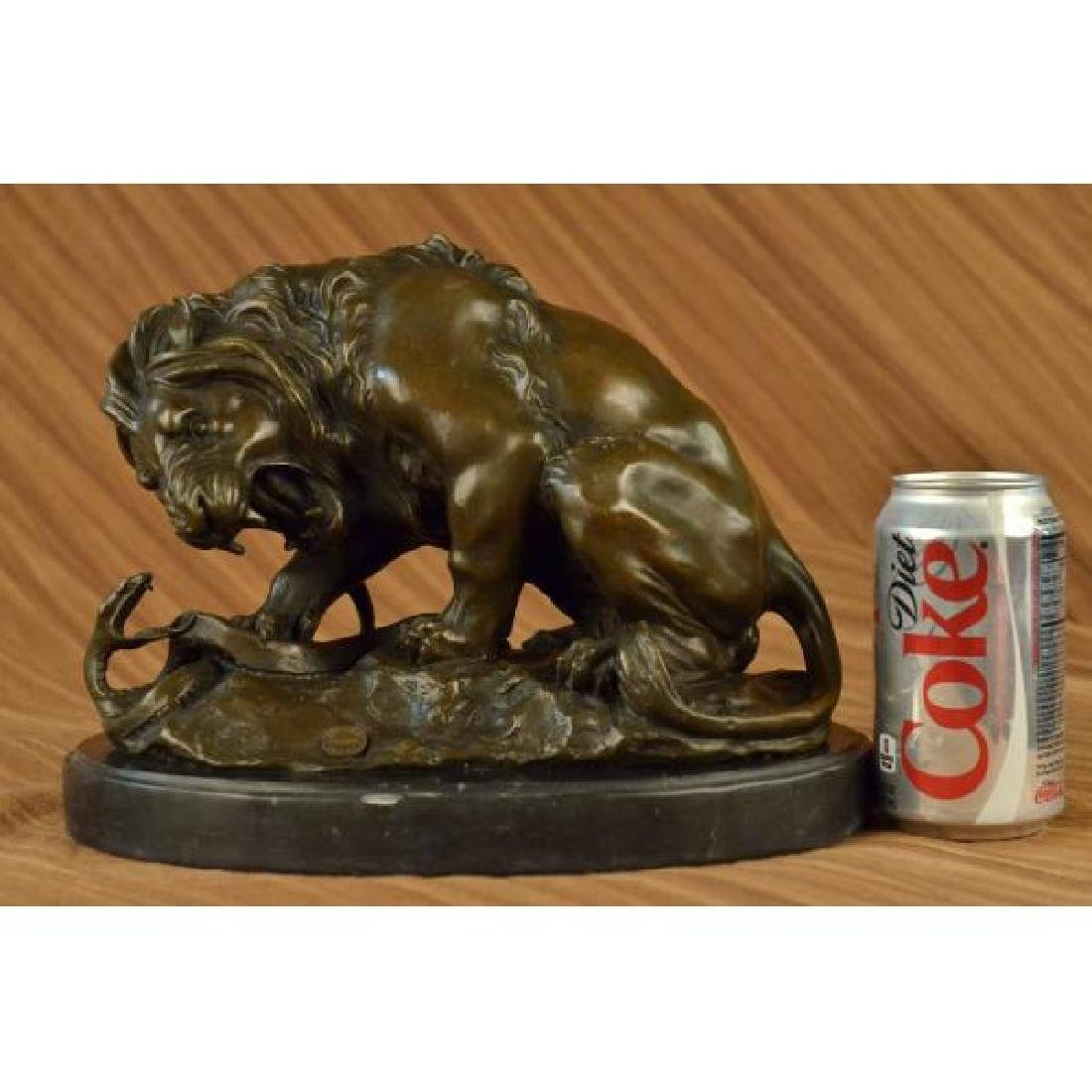 Lion and Snake Bronze Sculpture on Marble Base Statue - 2