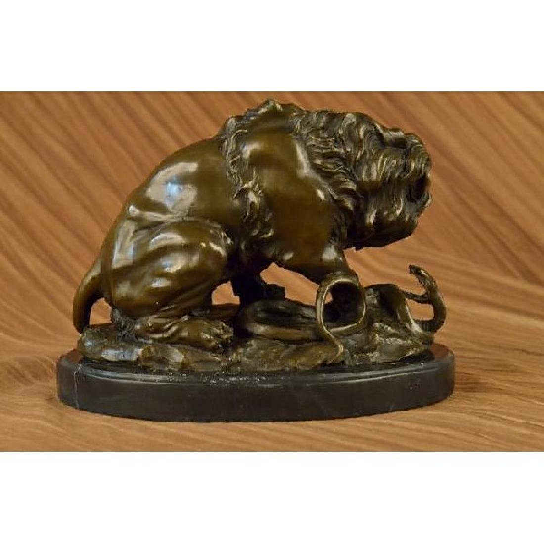 Lion and Snake Bronze Sculpture on Marble Base Statue - 3
