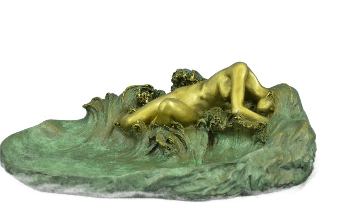 Nude Woman Candy Holder Dish Bronze Sculpture