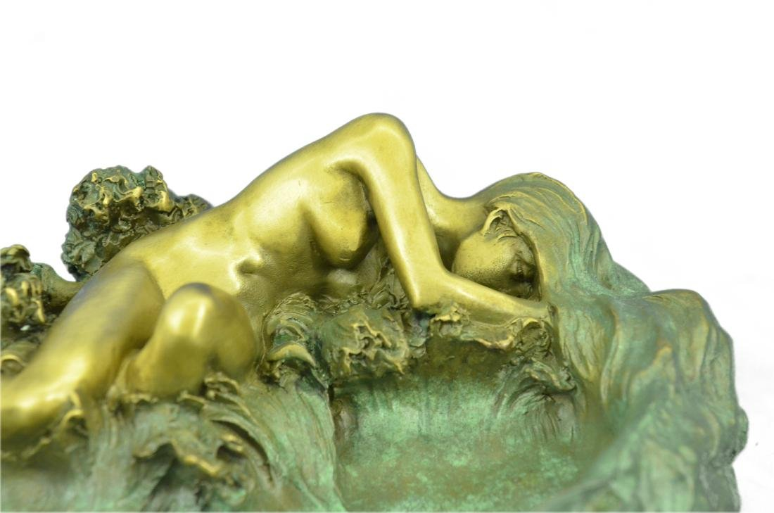 Nude Woman Candy Holder Dish Bronze Sculpture - 2