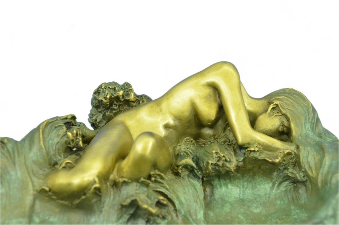 Nude Woman Candy Holder Dish Bronze Sculpture - 3