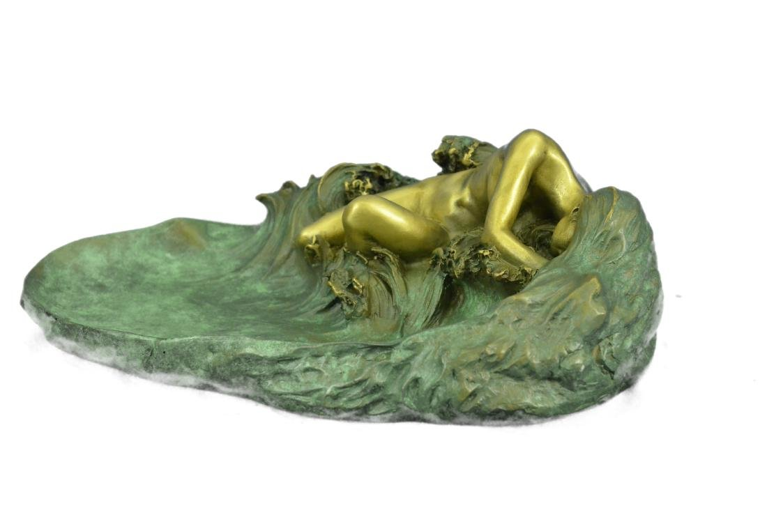 Nude Woman Candy Holder Dish Bronze Sculpture - 4