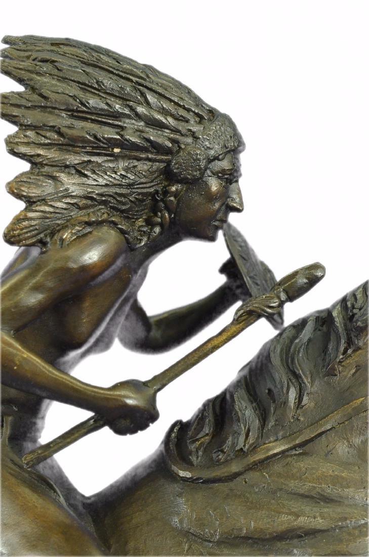 American Indian Warrior Bronze Statue - 2