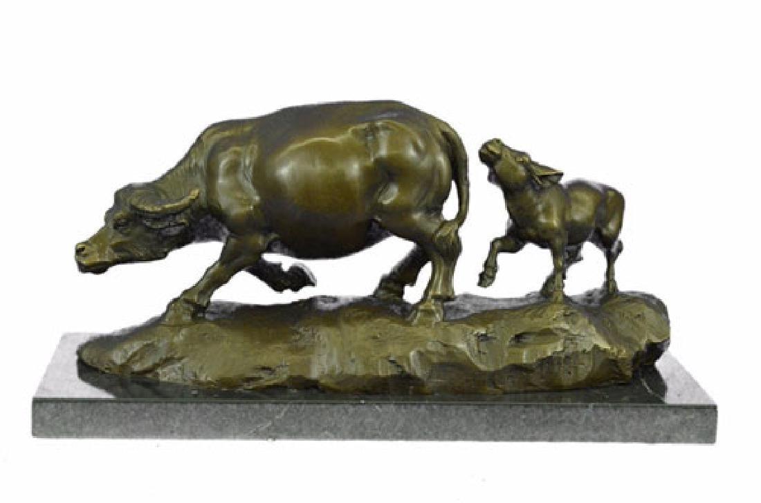 Bull With Calf Bronze Sculpture
