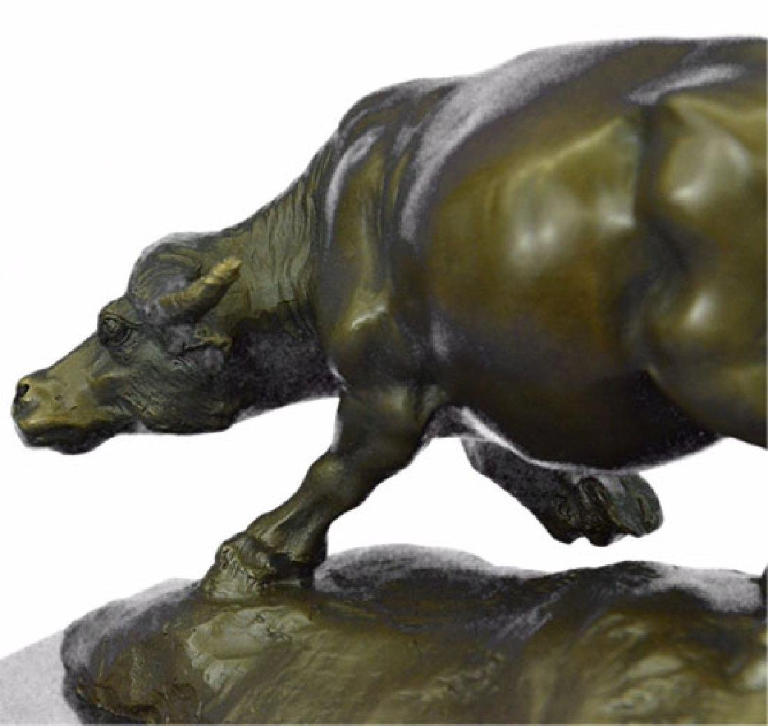 Bull With Calf Bronze Sculpture - 4