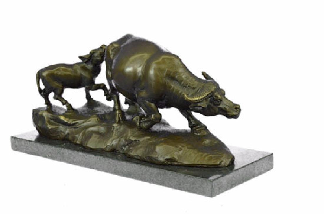 Bull With Calf Bronze Sculpture - 6