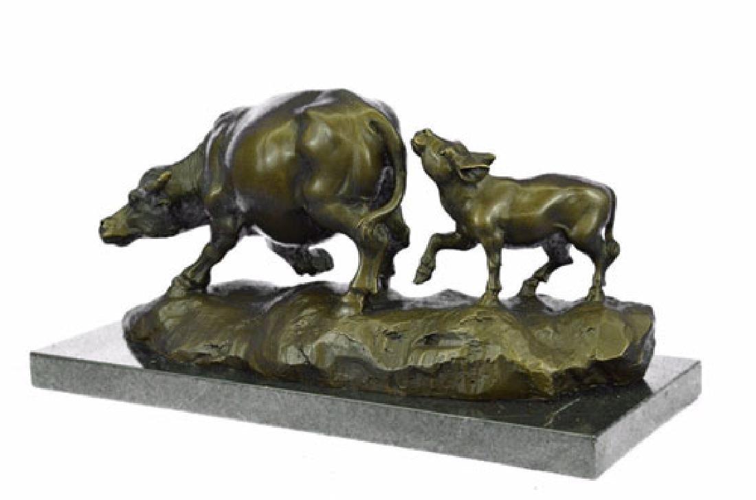 Bull With Calf Bronze Sculpture - 9