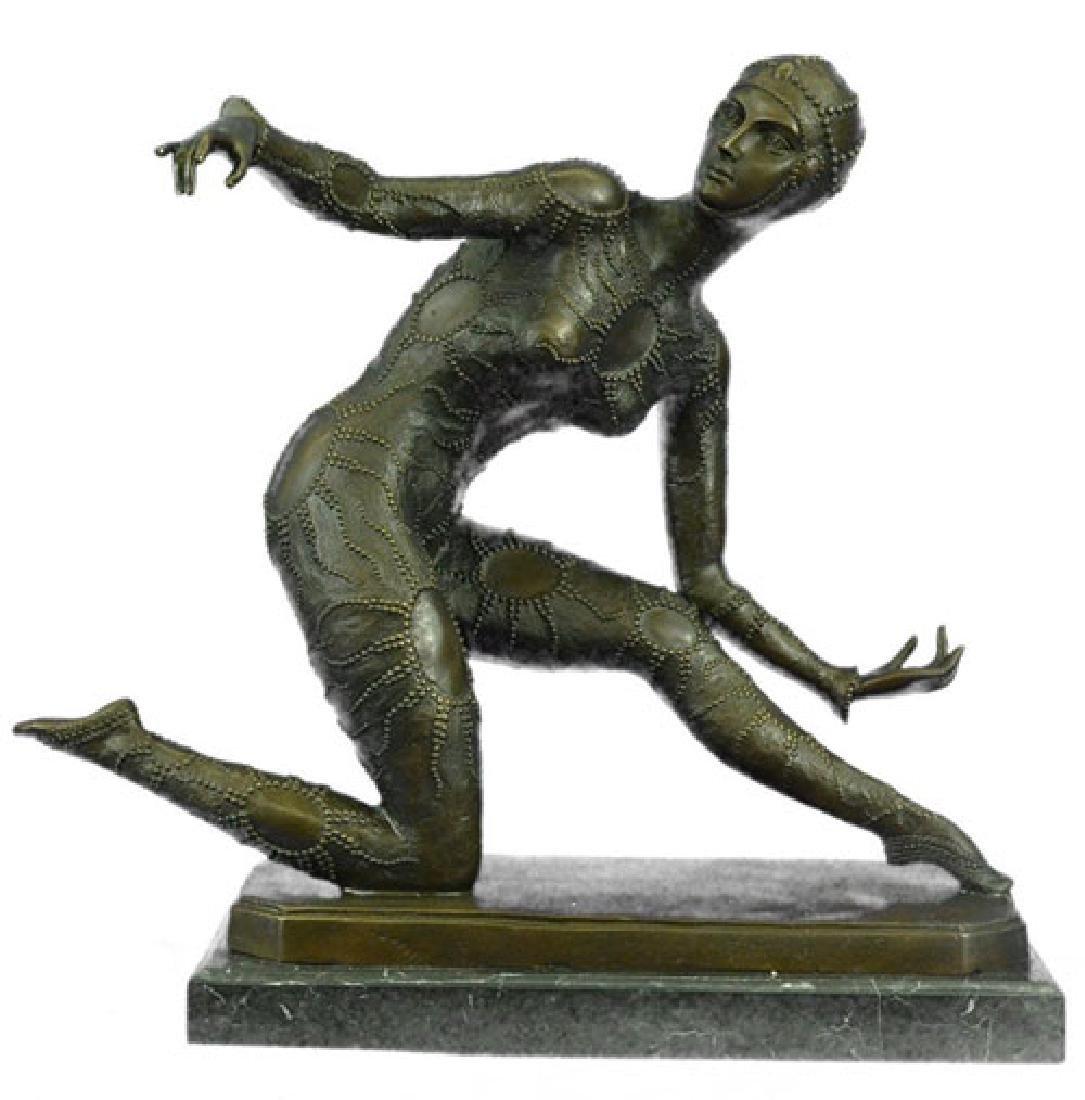 Exotic Dancer Bronze Sculpture on Marble Base Statue