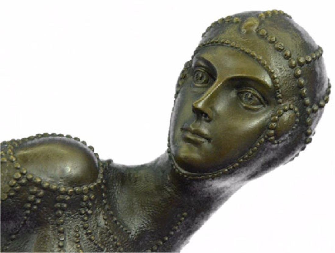 Exotic Dancer Bronze Sculpture on Marble Base Statue - 2