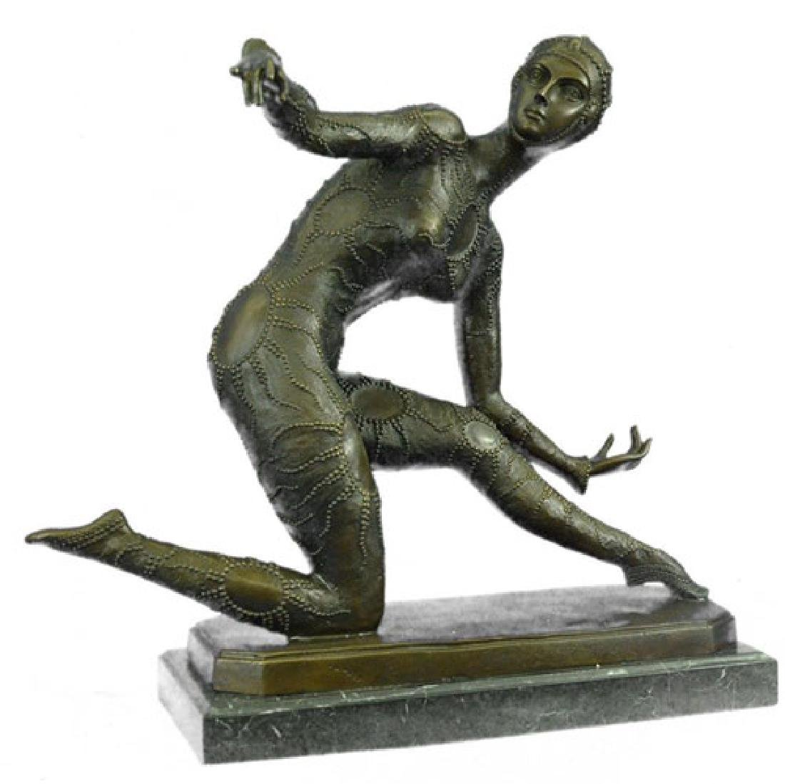 Exotic Dancer Bronze Sculpture on Marble Base Statue - 5