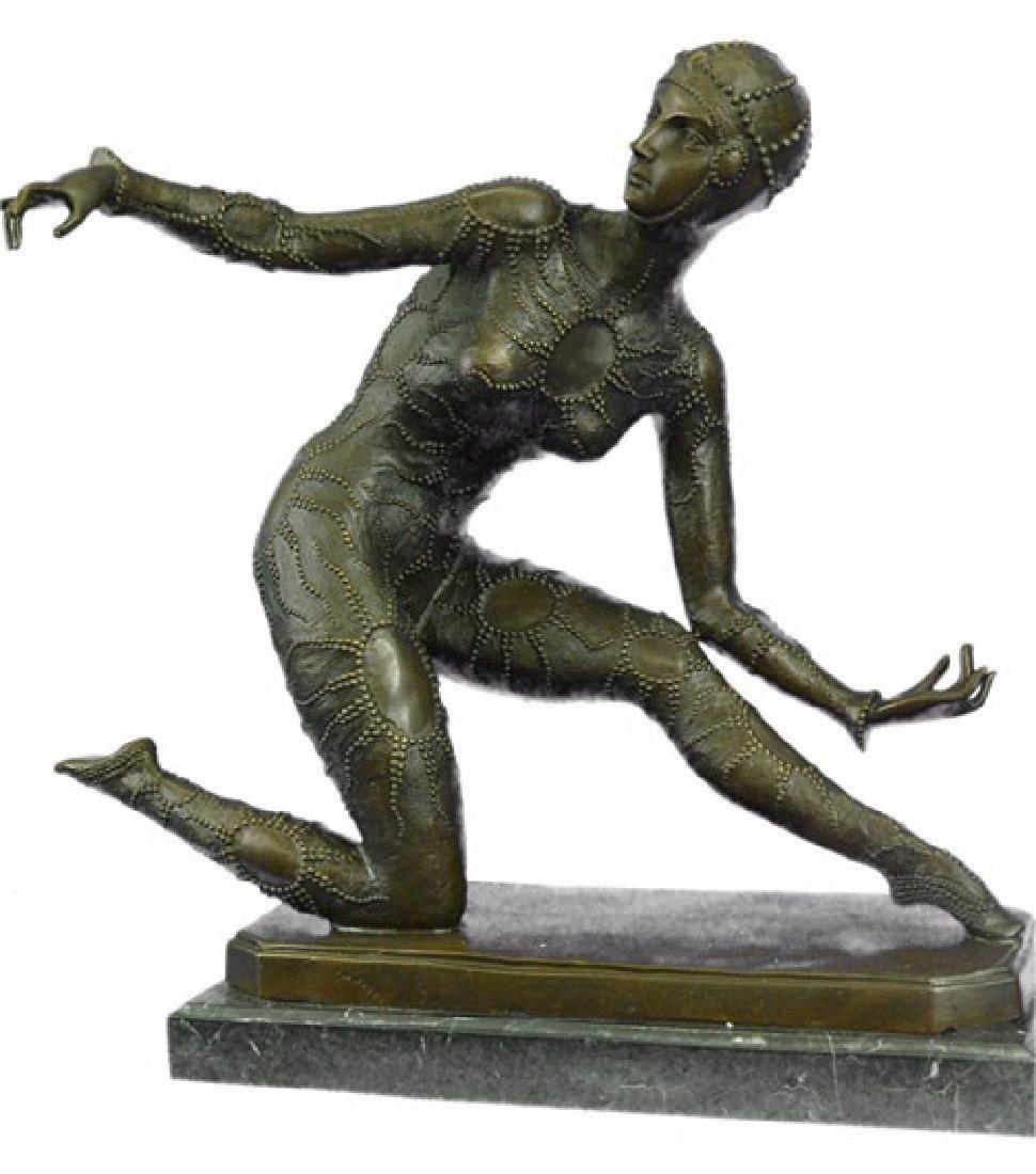 Exotic Dancer Bronze Sculpture on Marble Base Statue - 6