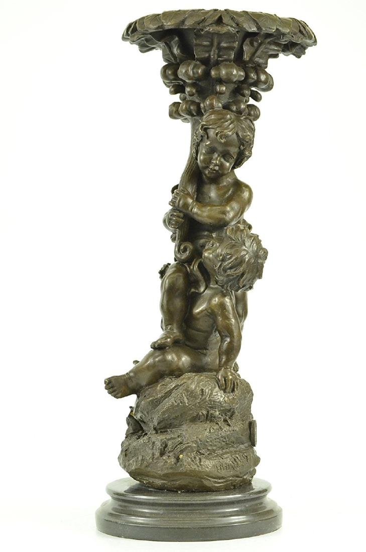 Two Playful Puti Cherub Child Bronze Sculpture on - 6