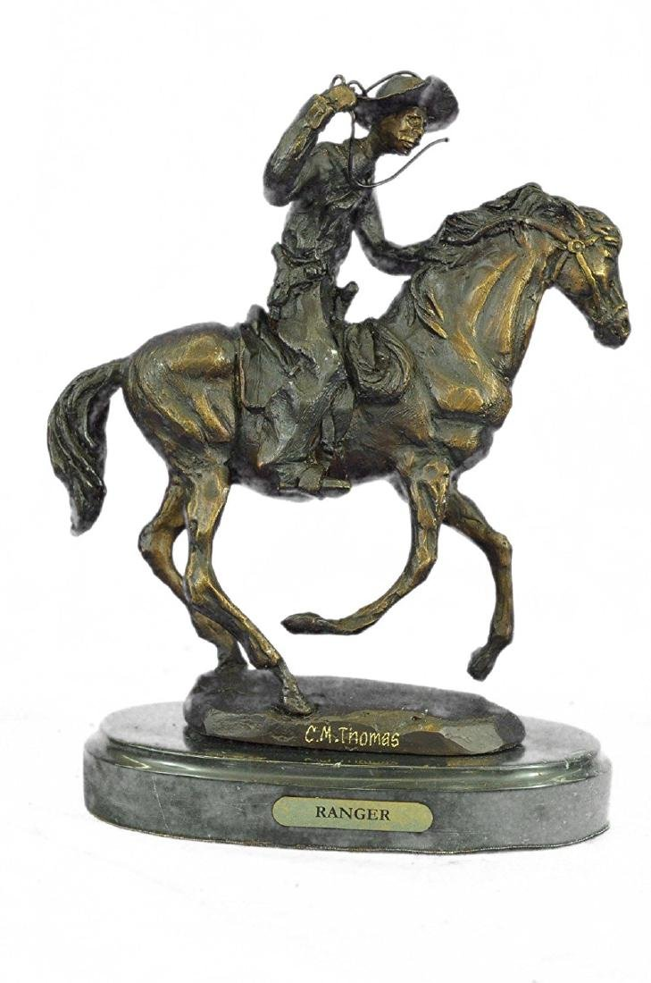 Cowboy Horse Bronze Sculpture on Marble Base Figurine