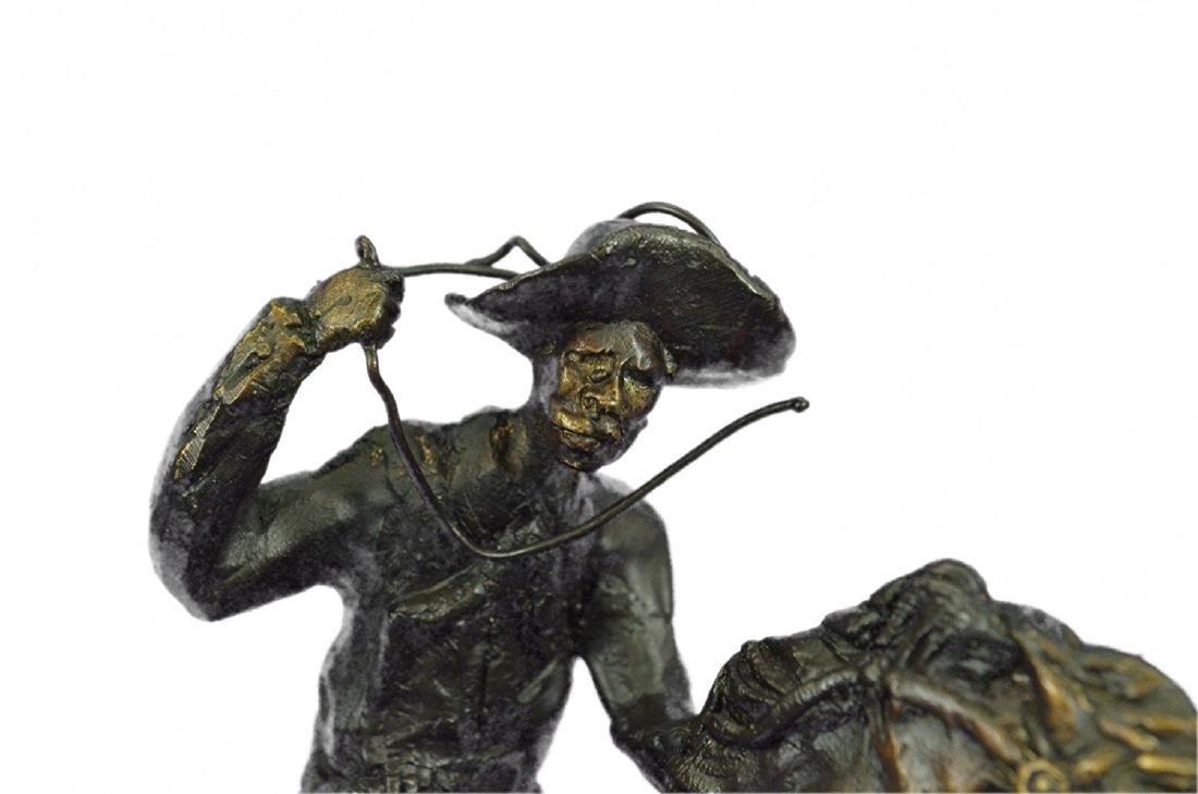 Cowboy Horse Bronze Sculpture on Marble Base Figurine - 2