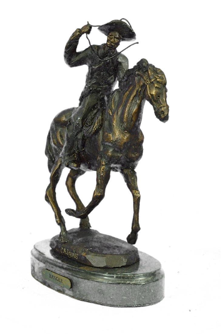 Cowboy Horse Bronze Sculpture on Marble Base Figurine - 5