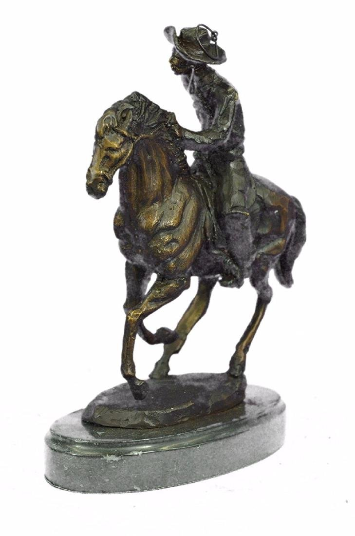 Cowboy Horse Bronze Sculpture on Marble Base Figurine - 6