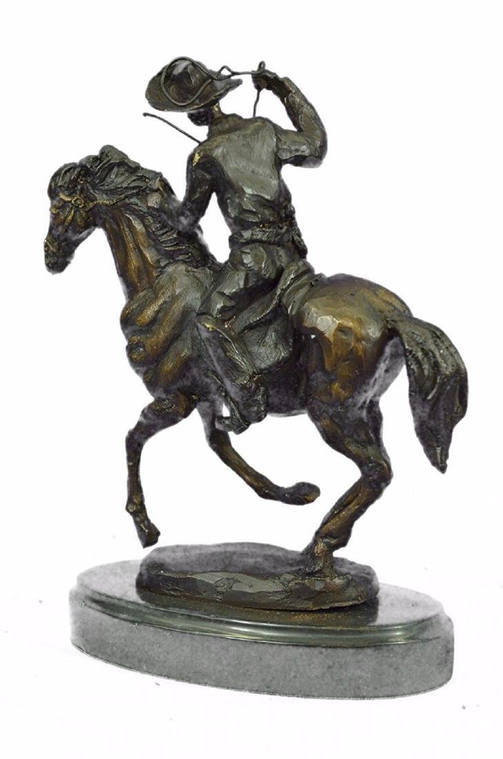 Cowboy Horse Bronze Sculpture on Marble Base Figurine - 7