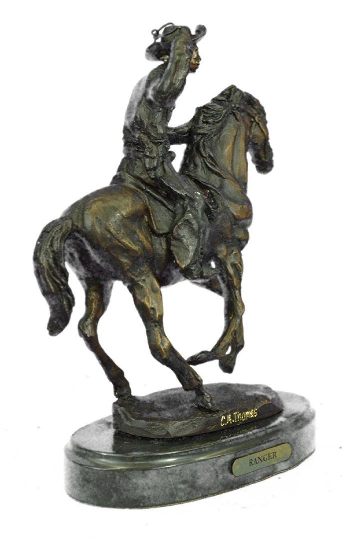 Cowboy Horse Bronze Sculpture on Marble Base Figurine - 8