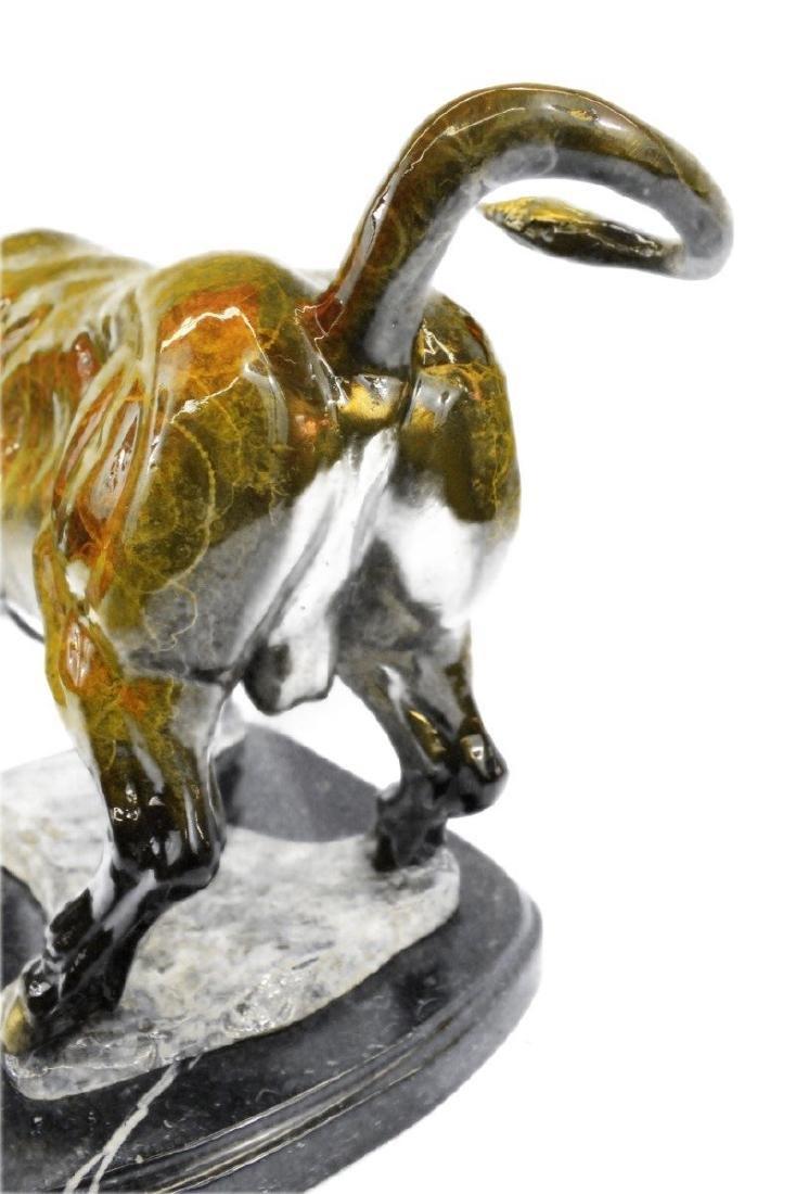 Stock Market Bull Bronze Sculpture on Marble Base - 3