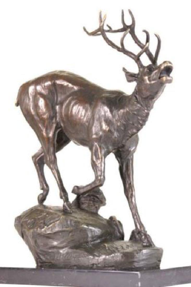 Trophy Bronze Elk Sculpture on Marble Base Statue