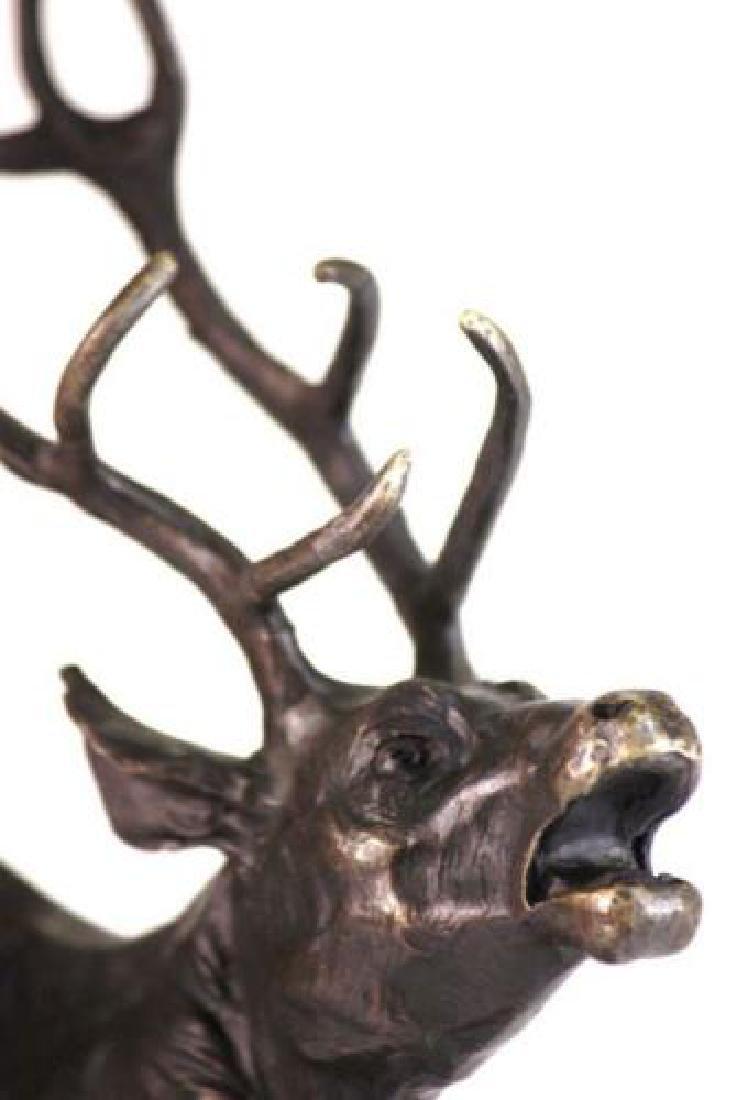 Trophy Bronze Elk Sculpture on Marble Base Statue - 2