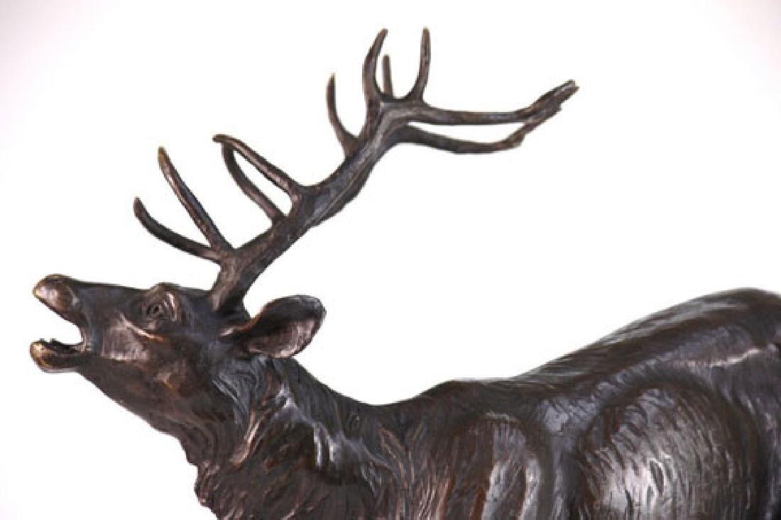 Trophy Bronze Elk Sculpture on Marble Base Statue - 3