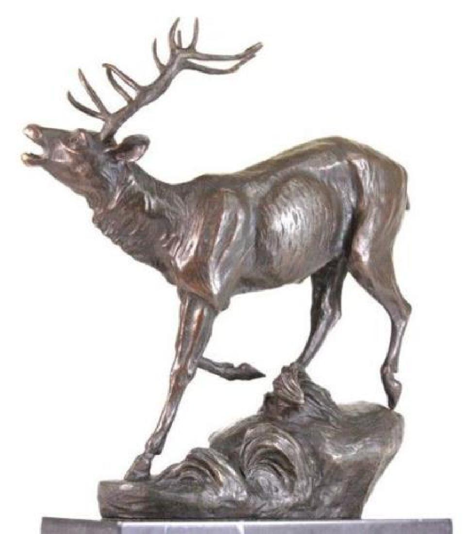 Trophy Bronze Elk Sculpture on Marble Base Statue - 4