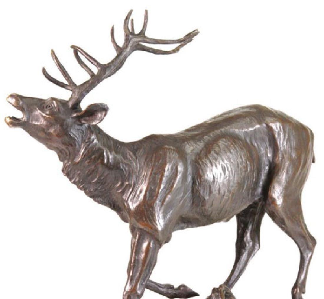 Trophy Bronze Elk Sculpture on Marble Base Statue - 5