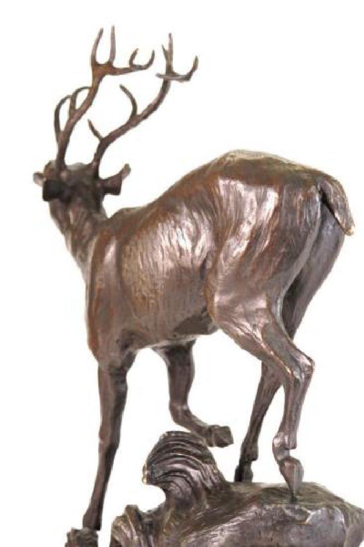 Trophy Bronze Elk Sculpture on Marble Base Statue - 8