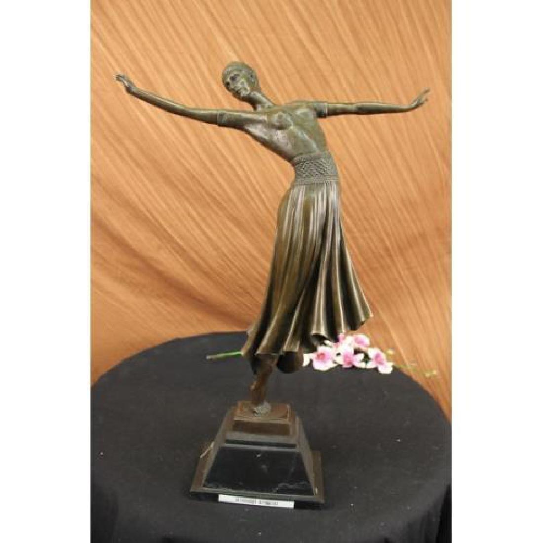 Dancer Bronze on Marble Base Sculpture