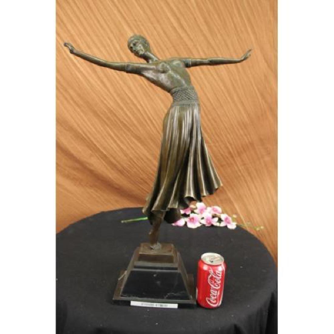 Dancer Bronze on Marble Base Sculpture - 2