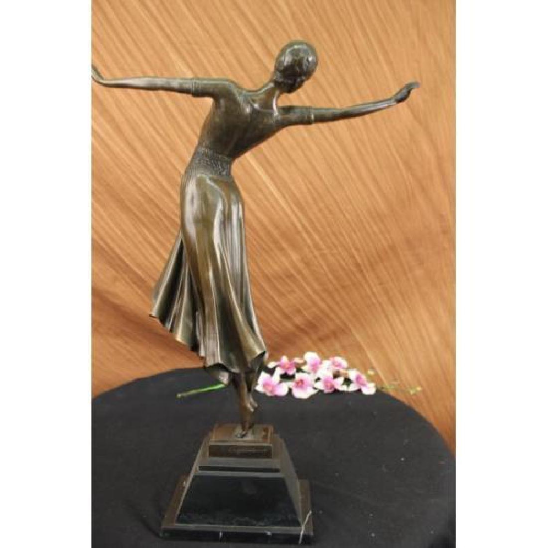 Dancer Bronze on Marble Base Sculpture - 3