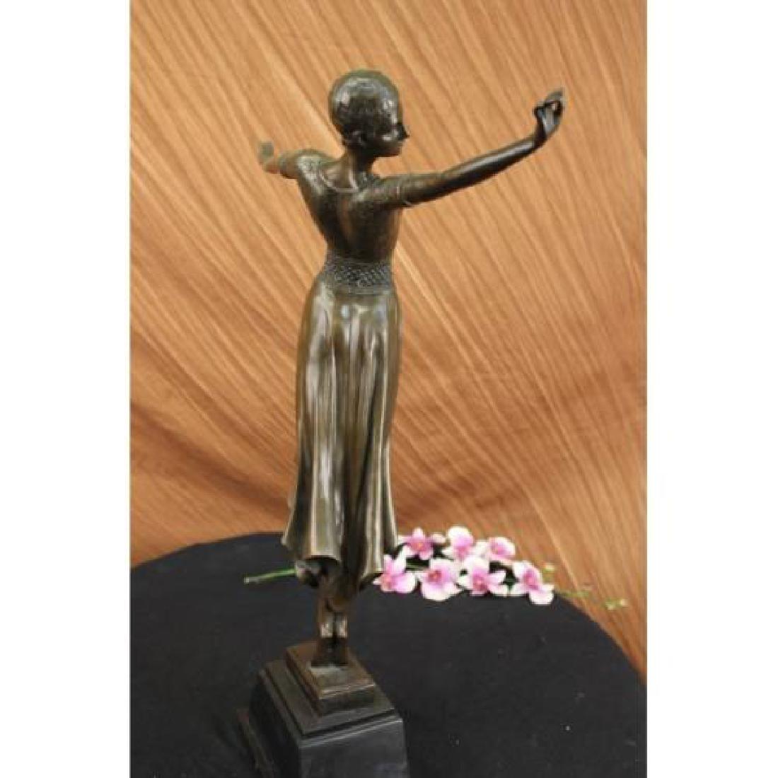 Dancer Bronze on Marble Base Sculpture - 4