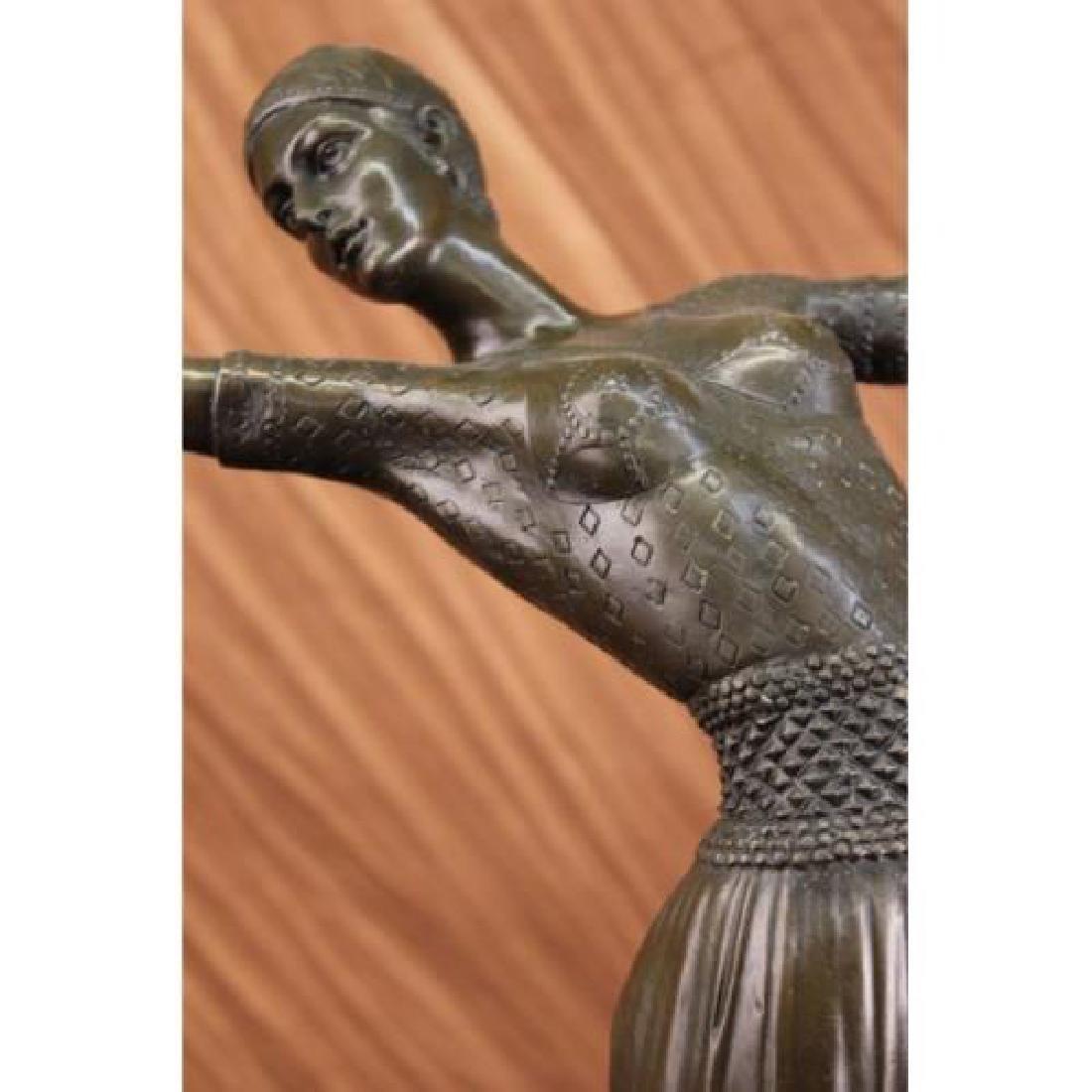 Dancer Bronze on Marble Base Sculpture - 5