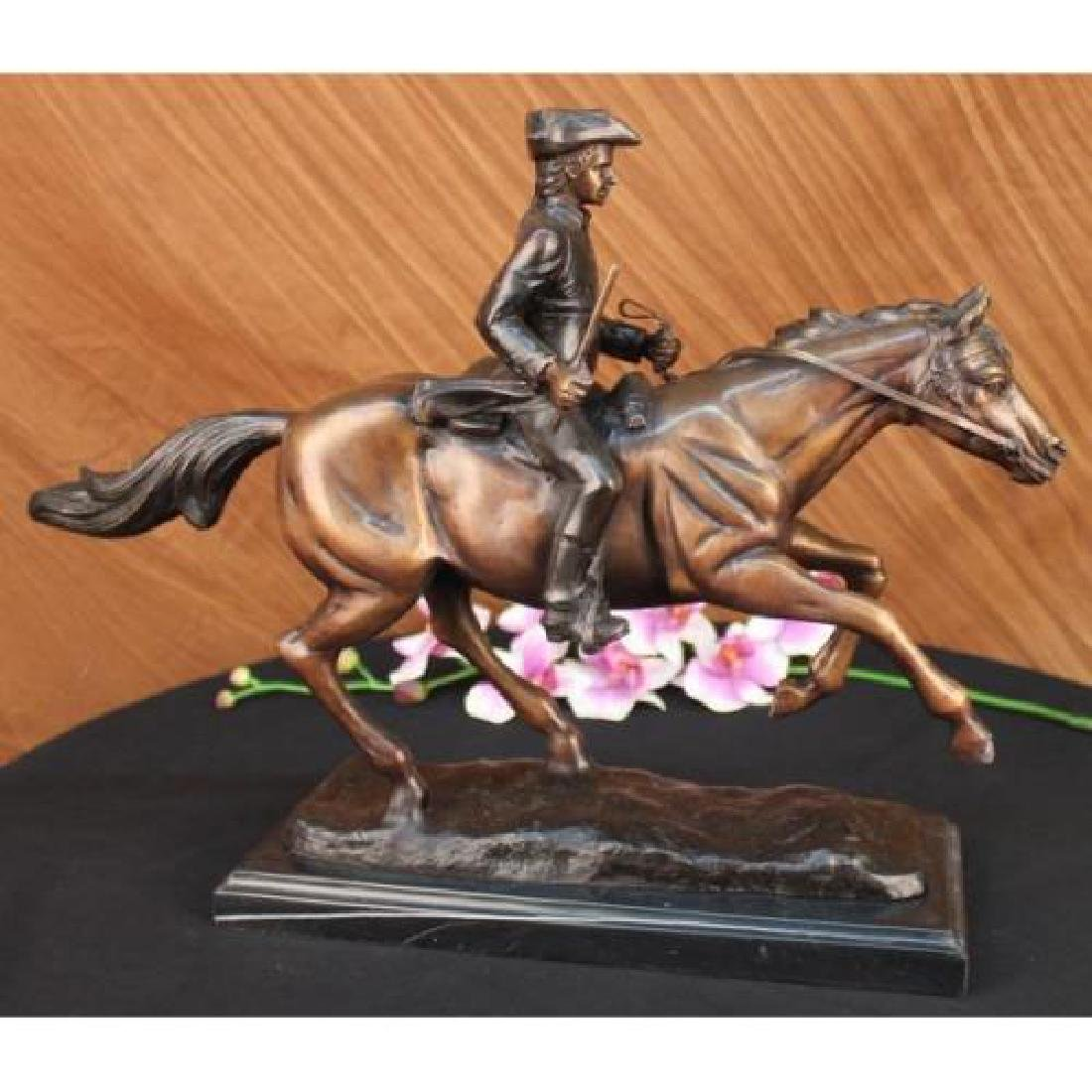 Soldier on Horse Bronze Statue on Marble Base Sculpture