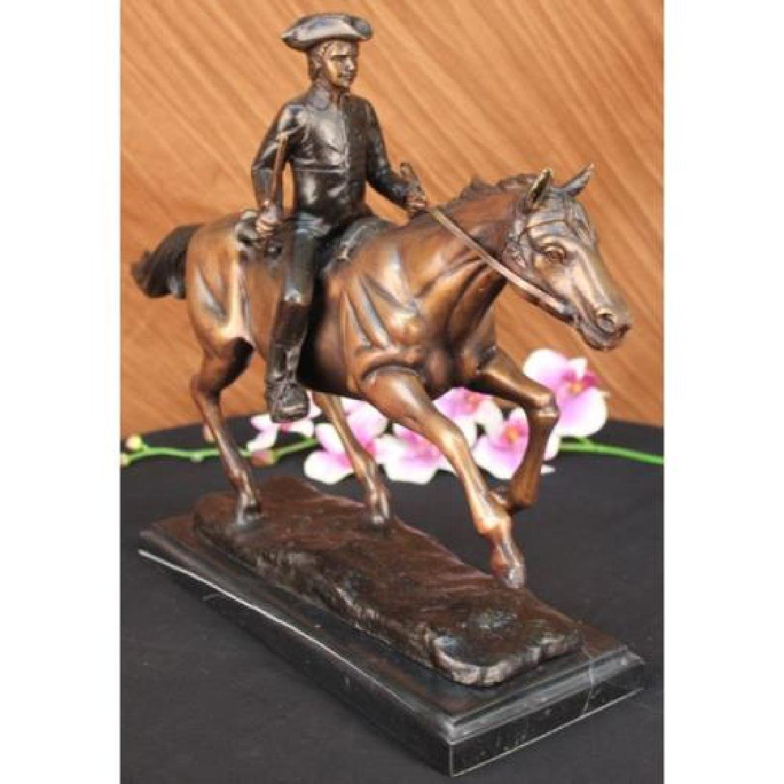 Soldier on Horse Bronze Statue on Marble Base Sculpture - 3