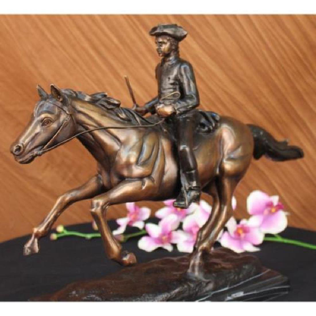 Soldier on Horse Bronze Statue on Marble Base Sculpture - 5